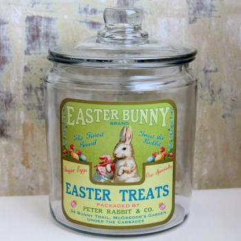 Easter Jar, Easter Decor, Easter Bunny, Cookie Jar, Candy Jar